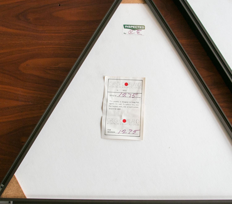 Milo Baughman & Greg Copeland Paper Art Series // 1973 //  Four Framed Triangles //  Mid Century Modern, MCM