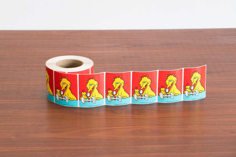 Original 1970's Sesame Street Big Bird Sticker Roll - LARGE ROLL! - Still Sticky!