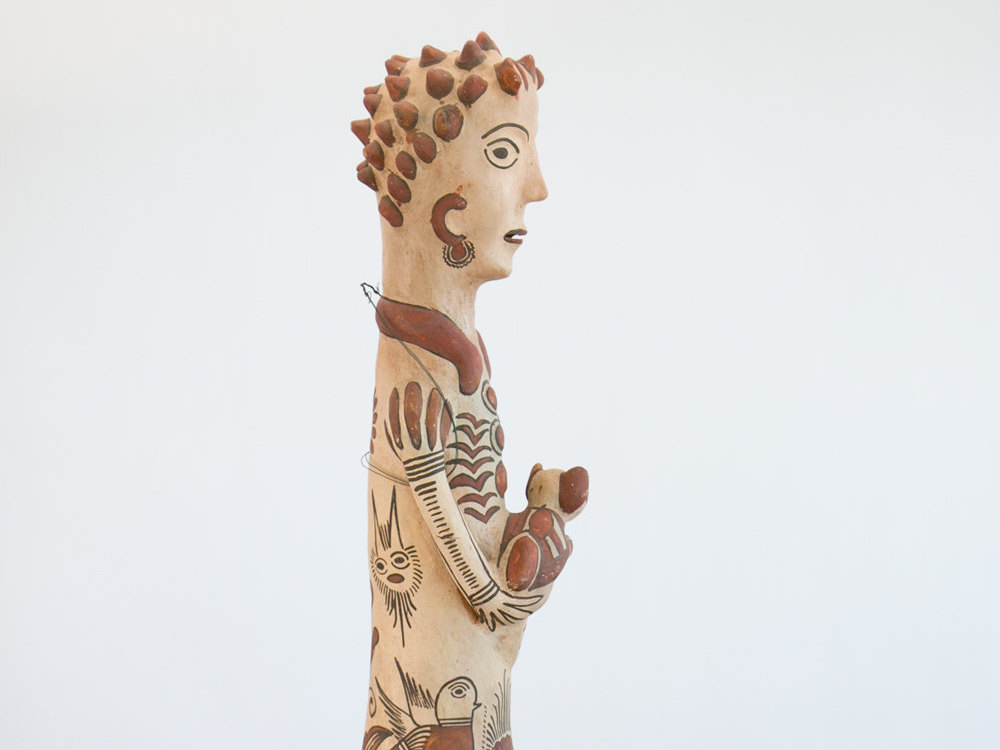Rare Ceramic Native American Folk Art Figure of a Woman with Dog - TALL! - Art Pottery, Clay, Hand Painted