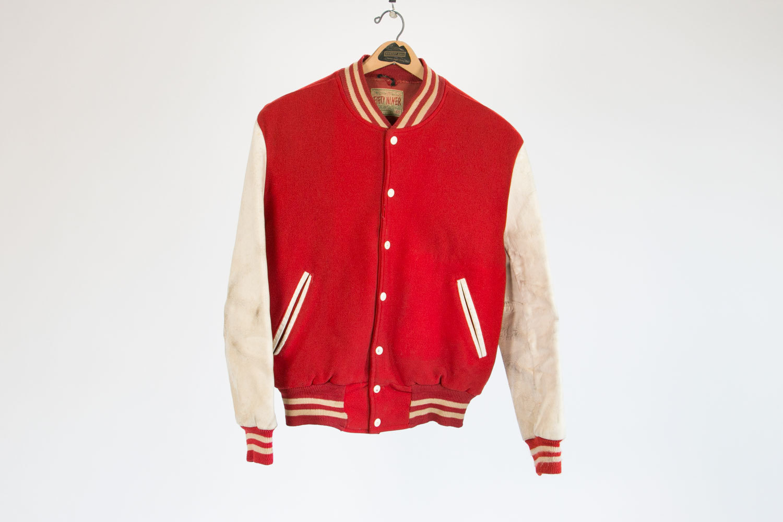 Rare Vintage 1950's Letterman Jacket // Brill Bros FIFTY NINER //  Size 46 // Red & White w Stripes // Retro // USA // Milwaukee // Hipster