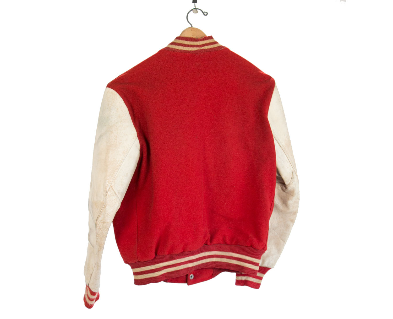 Rare Vintage 1950's Letterman Jacket // Brill Bros FIFTY NINER //  Size 46 // Red & White w Stripes // Retro // USA // Milwaukee // Hipster
