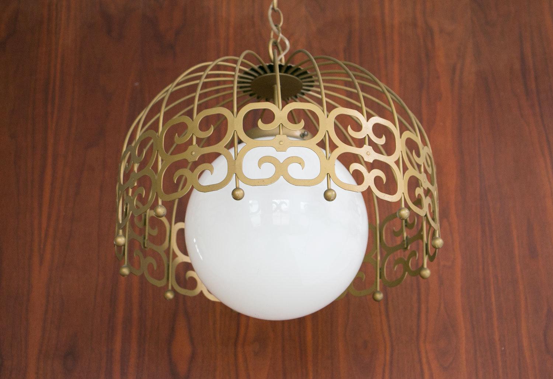 Rare Vintage 1960's Mid Century Hollywood Regency Pendant Light / Chandelier - Brass, Glass Globe, Decorative - Retro, MCM, Hipster, Boho