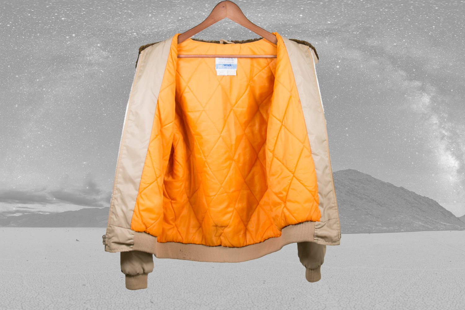 Rare Vintage 1970's Sears Quilt-lined Winter Jacket w/ Fur Collar (faux) & Orange Lining - Men's Large - Indie, Hipster, Retro, Avant Garde