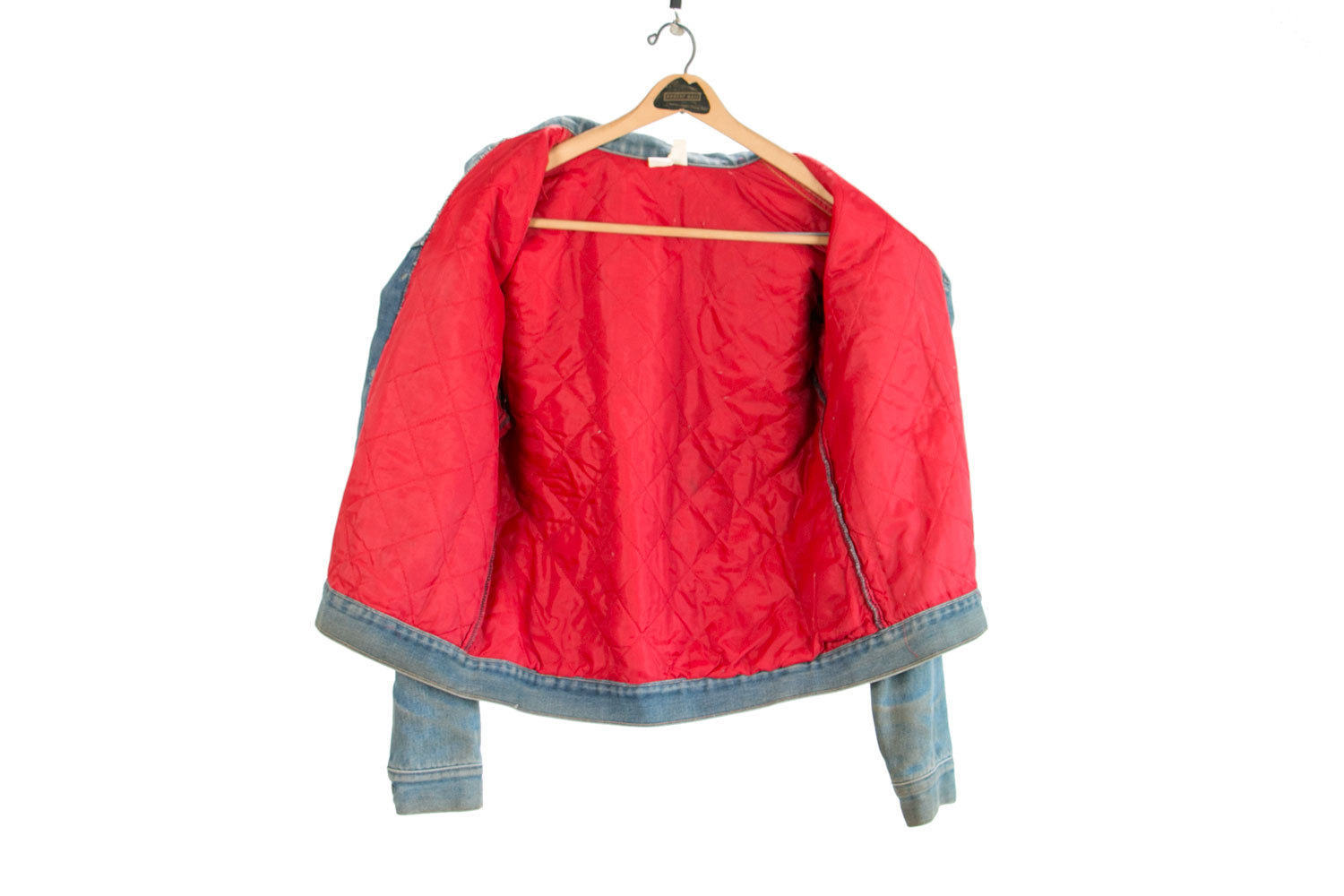 Rare Vintage Denim Jacket w Red Quilt Lining & Beautiful Patina //  Size L - XL // Levis Wrangler //  Country // Rocker // Hipster