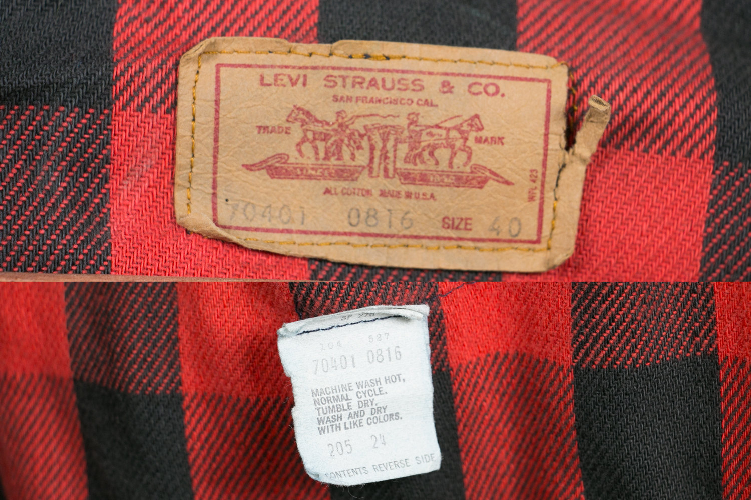 Rare Vintage Levis Denim Trucker Jacket Red Buffalo Plaid Lining Red Tab 70401 0816 Men's Sz 40 - Hipster, Indie, Rocker, Retro