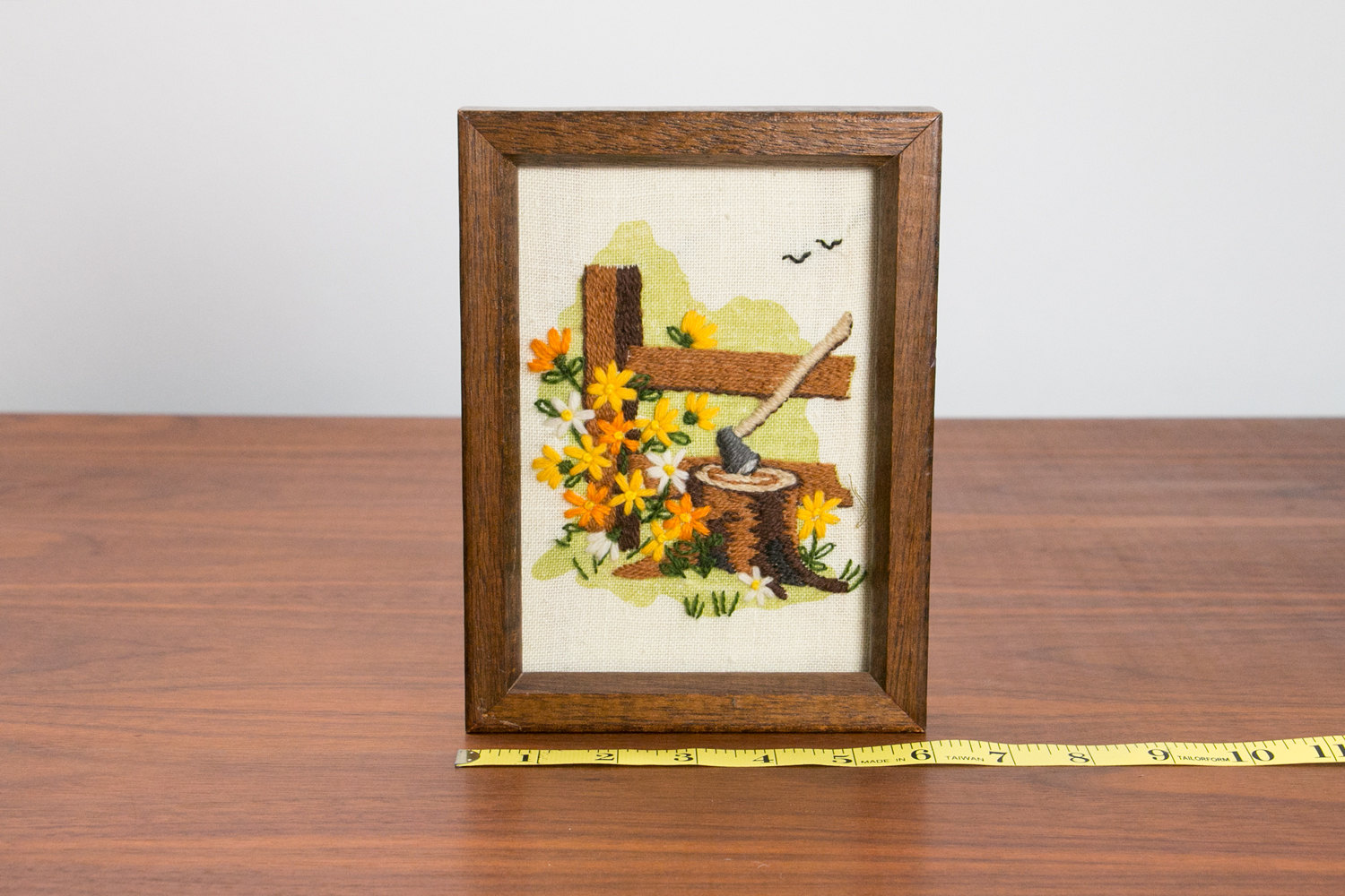 Vintage 1950's Framed Needlepoint of Axe in Wood w Spring Flowers and Birds - Small, Wood Frame, Mid Century, Retro, Hipster