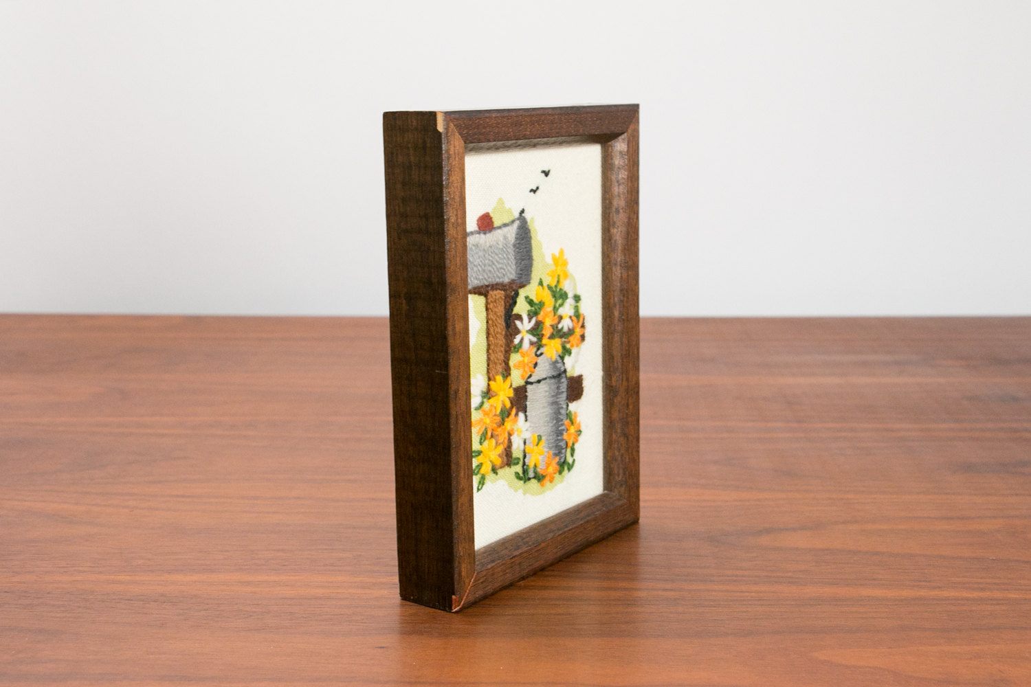 Vintage 1950's Framed Needlepoint of Mailbox with Spring Flowers, Bucket, Birds, Grass - Small, Wood Frame, Mid Century, Retro, Hipster