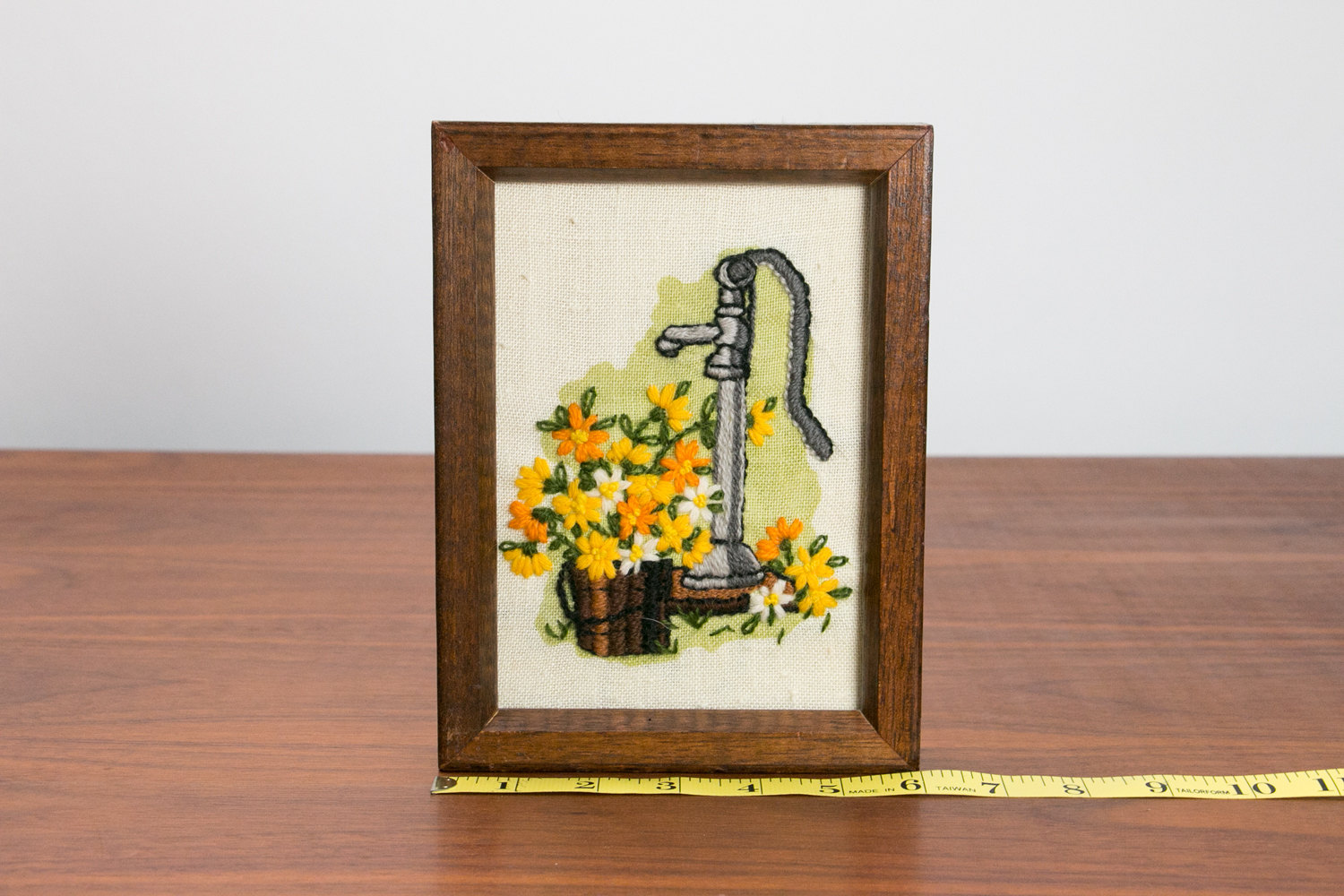 Vintage 1950's Framed Needlepoint of Water Well Pump with Spring Flowers, Basket, Grass - Small, Wood Frame, Mid Century, Retro, Hipster