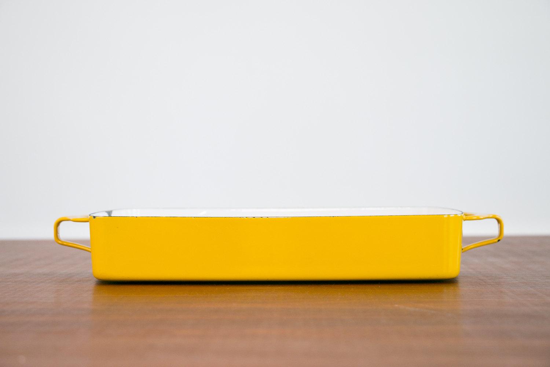 "Vintage 1960's Dansk Kobenstyle Yellow Enamel Casserole Pan - 11"" x 8"" interior dim, Jens Quistgaard, MCM, Mid Century Modern, Danish Modern"