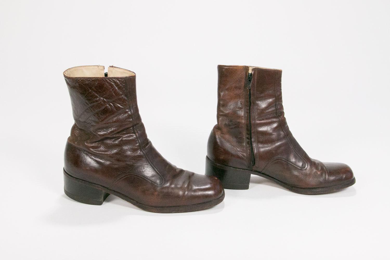 Vintage 1960's Florsheim Leather Zipper Boots // Men's Size 9 D // Mod // Retro // Hipster // Rocker