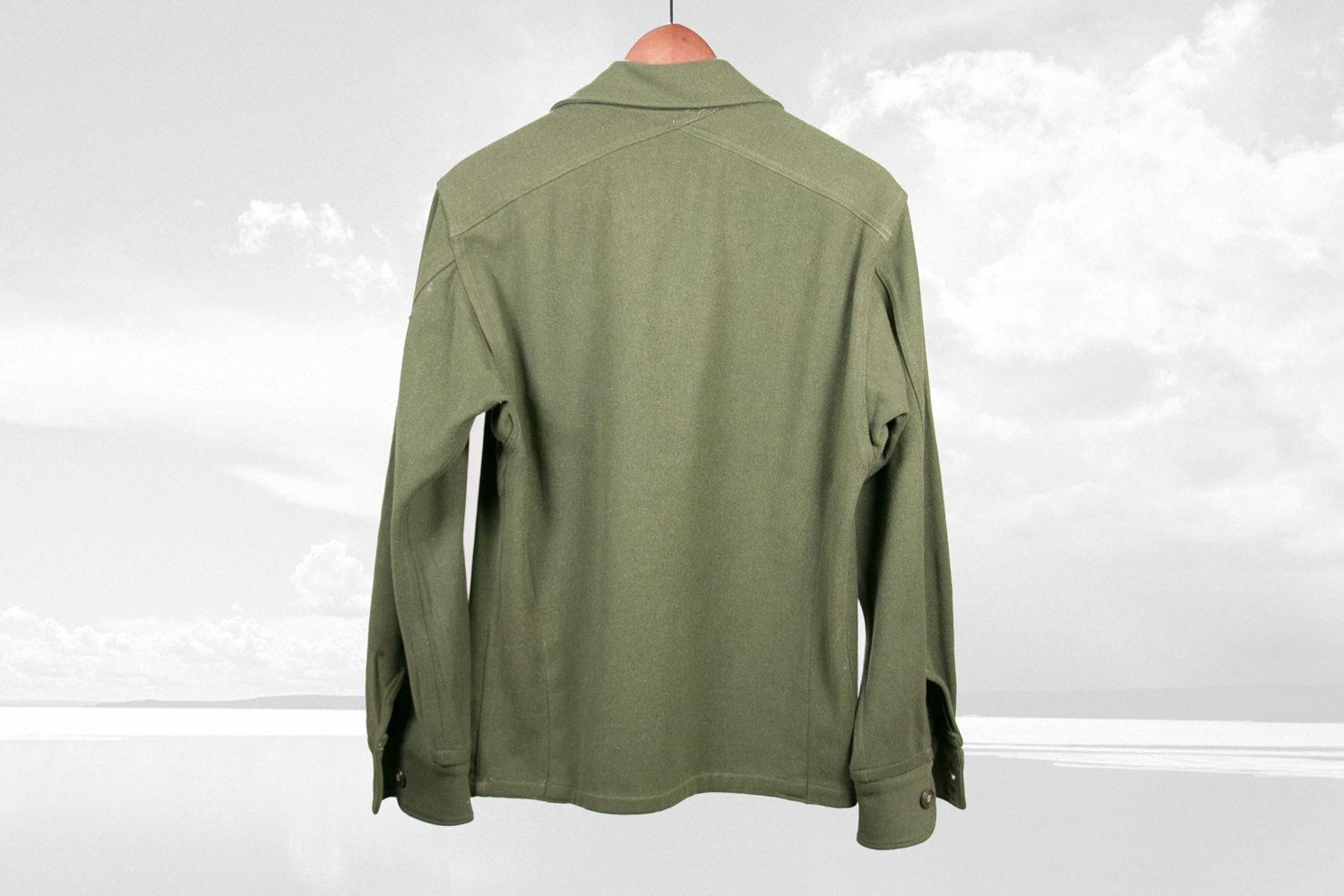 Vintage 1960's Wool Army Button Down Shirt, Size Small - Olive Green - Retro, Hipster, Military