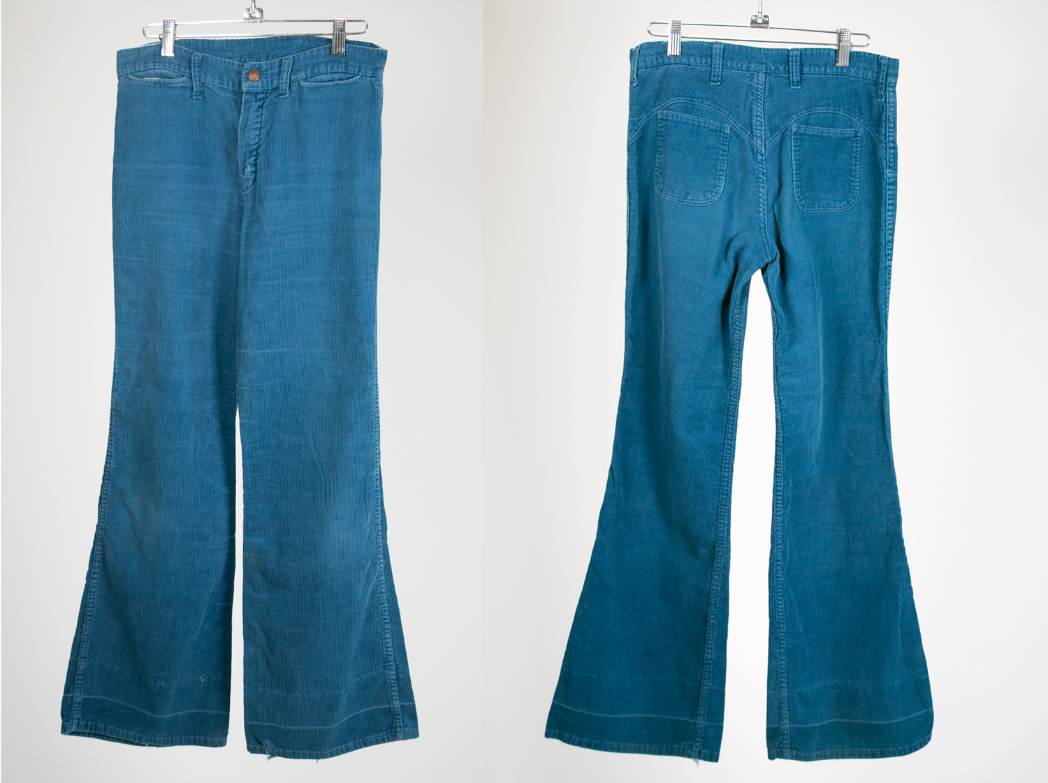 Vintage 1970's Blue Corduroy Bell Bottom Pants, Hillbilly Brand, W30 L31 - Retro, Hippie, Hipster, Rocker