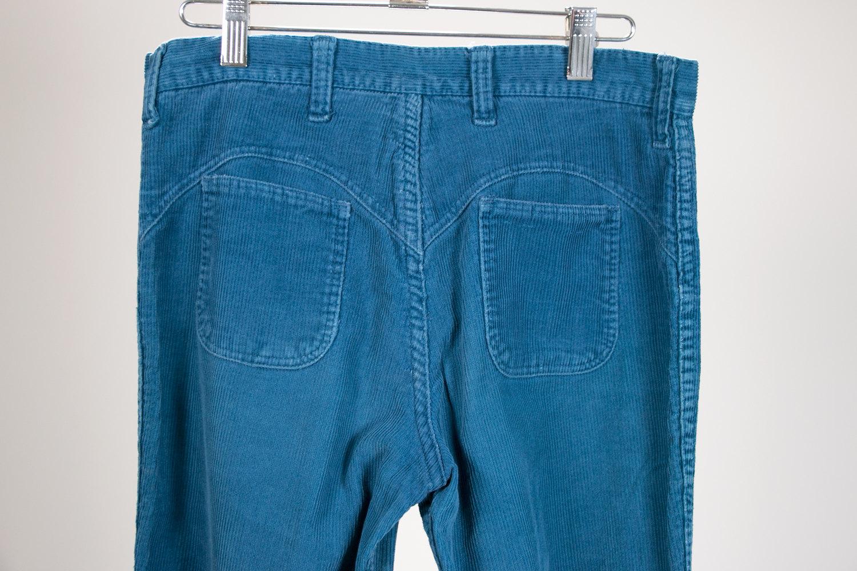 Vintage 1970's Blue Corduroy Bell Bottom Pants, Hillbilly Brand, W30 L31 - Retro, Hippie, Hipster, Rocker