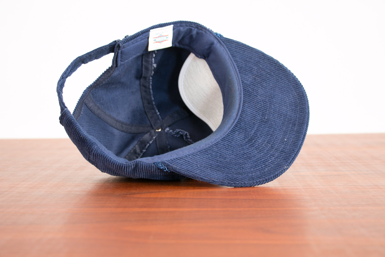 Vintage 1970's Trucker Cap / Hat w Buck's Sub Shop Patch, Blue Corduroy, Adjustable - Hipster, Indie, Country Western, Retro