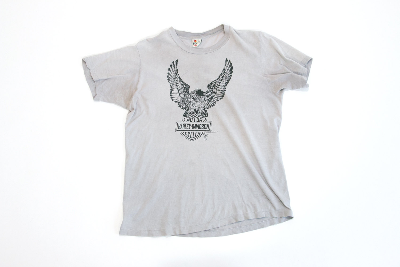 Vintage 1980's Harley Davidson T-Shirt, Large 42-44 // Thorp's Motorcycles // Bakersfield, CA // Grey w Black Ink //  Rocker // Biker