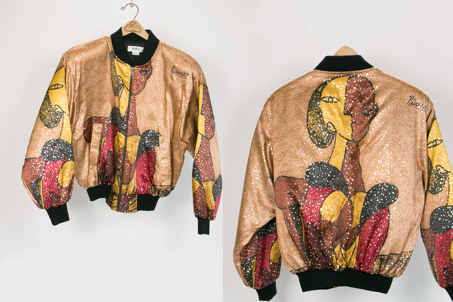 Vintage 1980's Mighty Picasso Jacket - Gold, Burgundy, Black - Shoulder Pads and Amazing Graphics!  - Retro, Hipster, New Wave