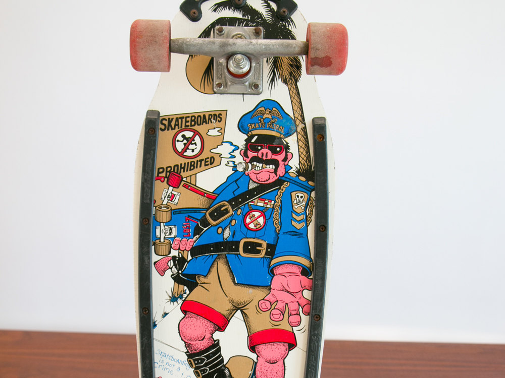 Vintage 1980's Skate Patrol Skateboard w Pig Cop on Skateboard - Amazing Graphics! - Wall Hanging, Punk, Sk8, Powell Peralta, Bart Simpson