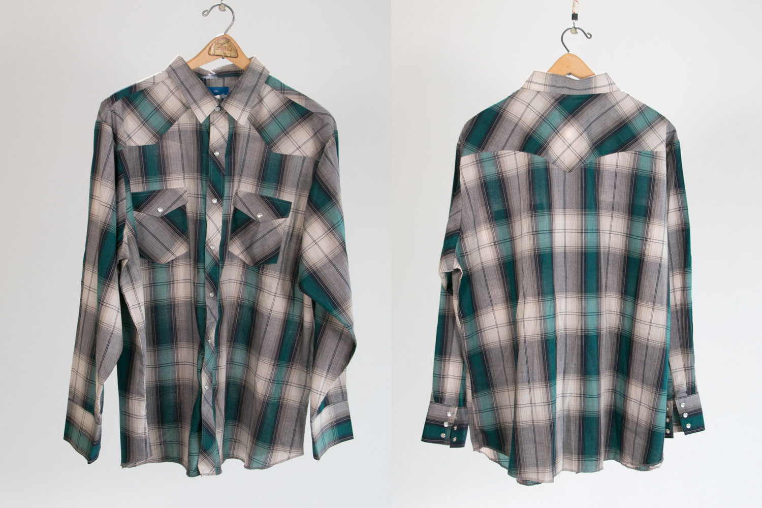 Vintage 1980's Wrangler Plaid Country Western Shirt - Men's XXL, Long Sleeve, Pearl Snap Buttons - Indie, Folk, Hipster, Trucker