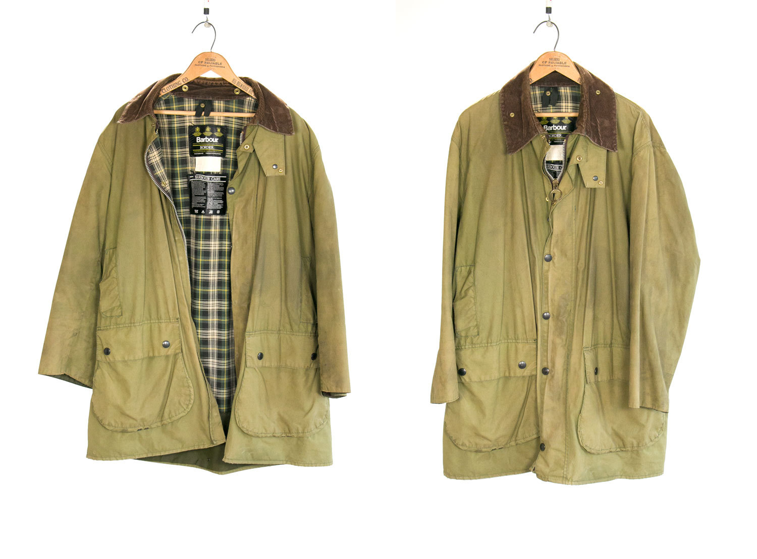 Vintage Barbour A200 BORDER Waxed Cotton Canvas JACKET C447 / 112CM // Green / Olive // Made in England // Outdoors // Hunting