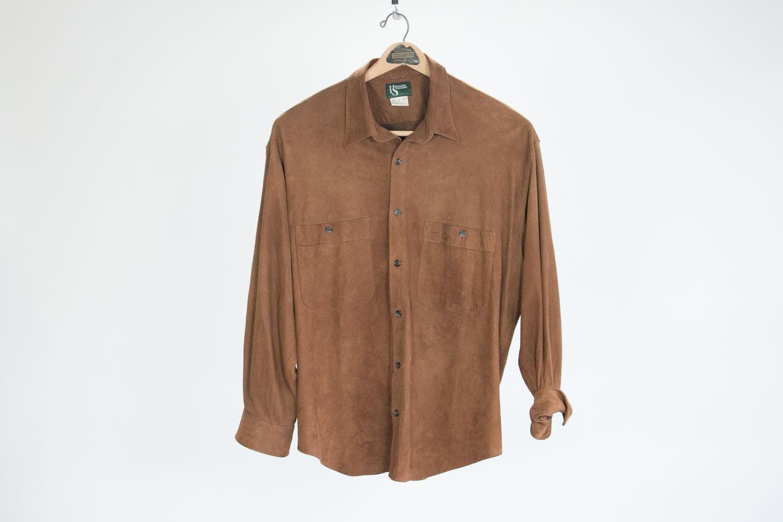 Vintage Brown Suede Leather Shirt, Button Down, Hammacher Schlemmer //  Size Men's Large // Rustic // Hipster // Rocker // Retro