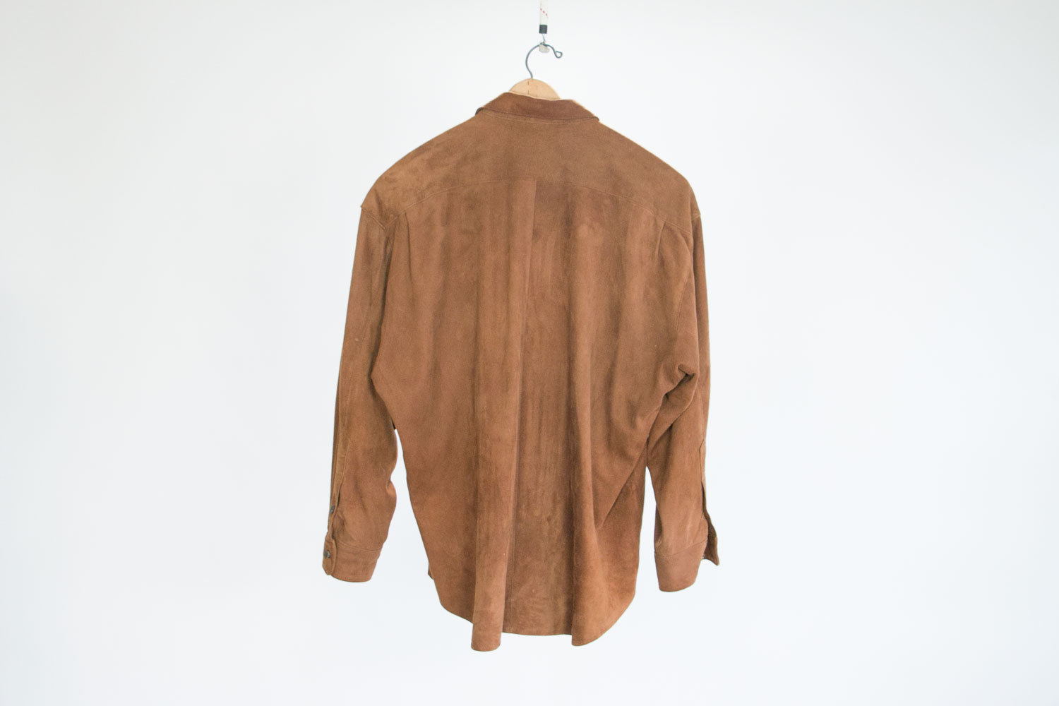 Vintage Brown Suede Leather Shirt, Button Down, Hammacher Schlemmer //  Size Men's Large // Rustic // Hipster // Rocker // Retro