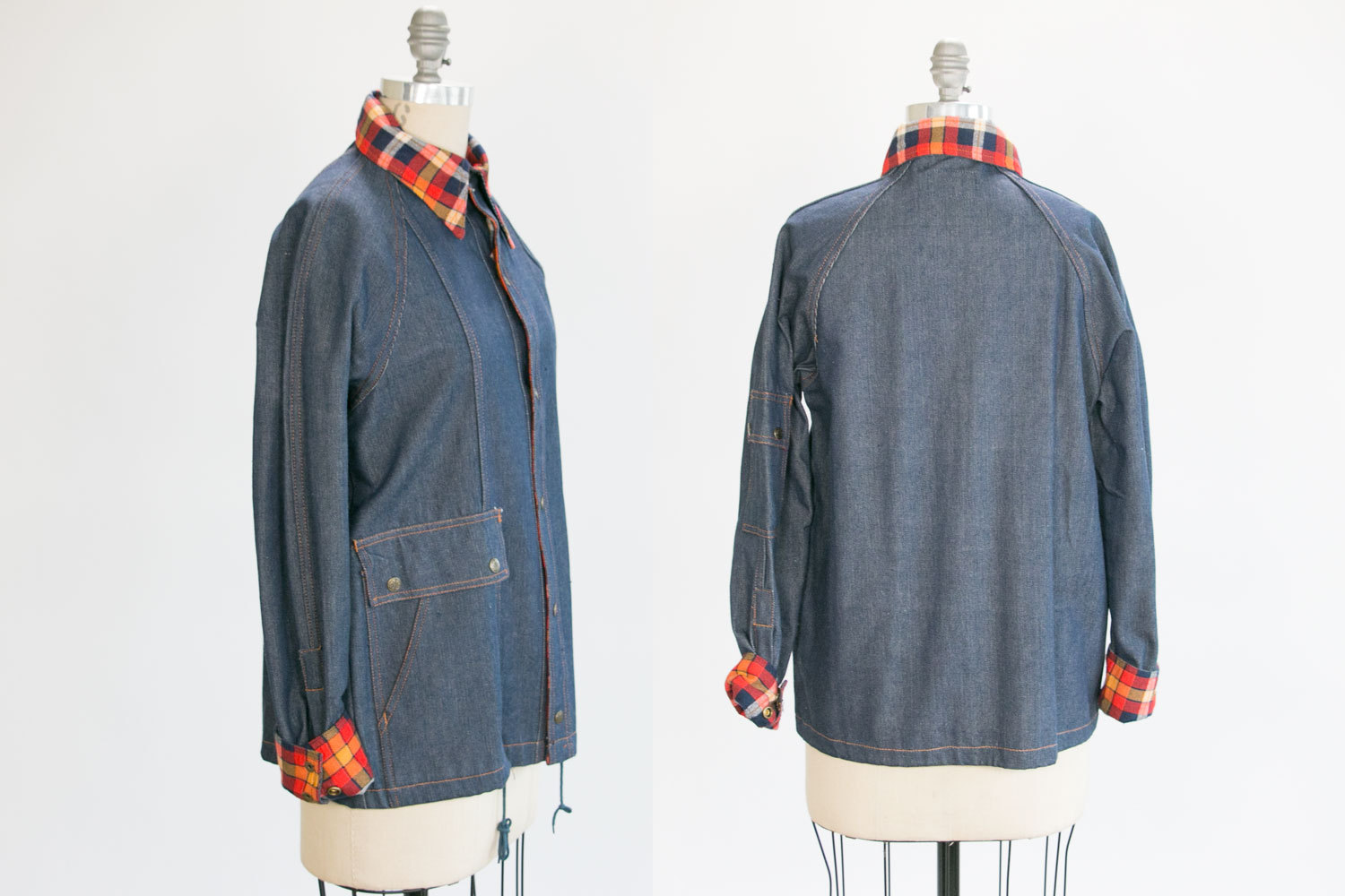 Vintage Denim & Flannel Button Down Jacket // DEADSTOCK / NOS w TAGS // Valley Co // Size Woman's Medium //  Indie, Hipster, Country, Folk
