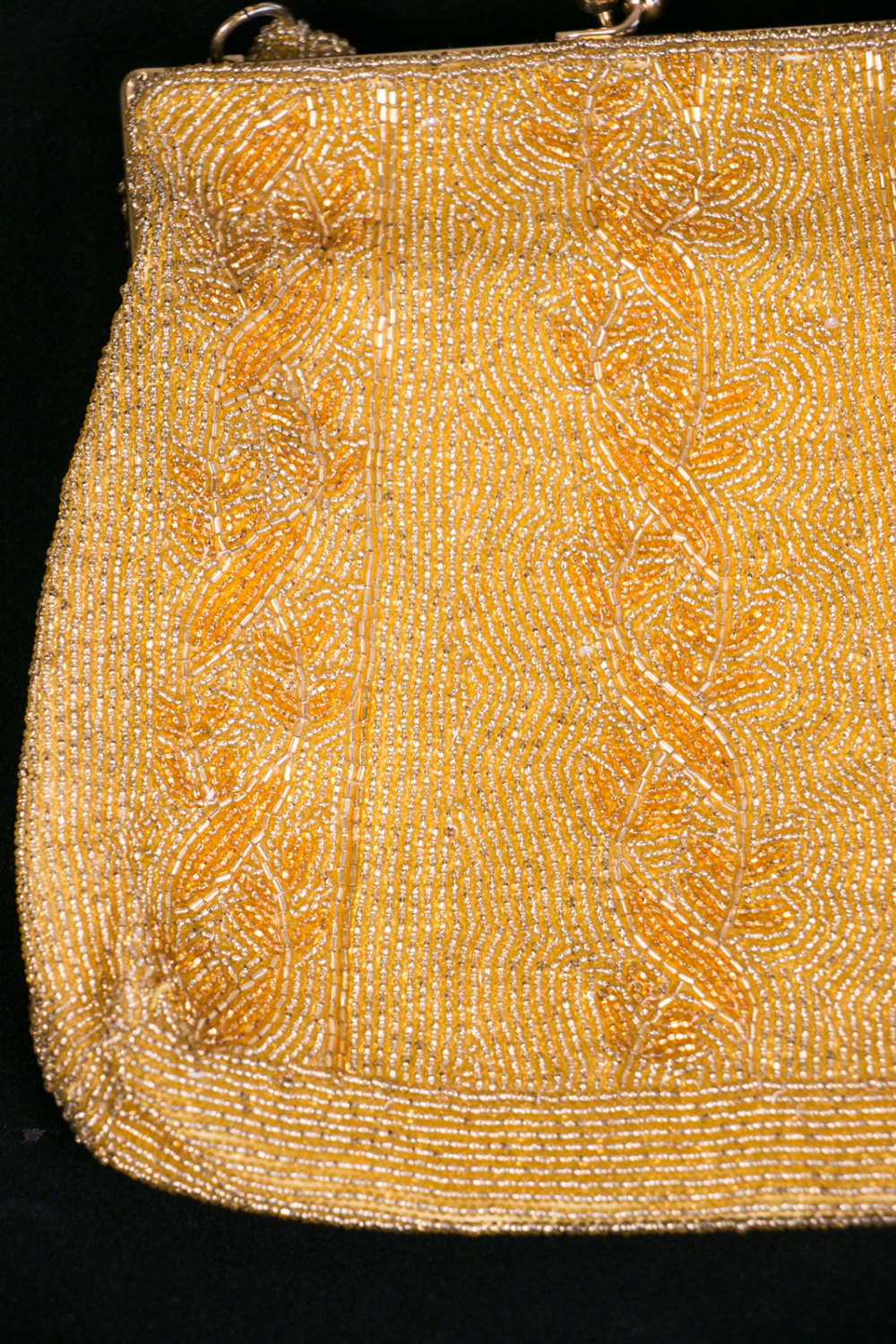 Vintage Gold Belgian Beaded Evening Bag / Purse - 1950's-1960's - with original Mirror, NOS, New Old Stock, Deadstock.