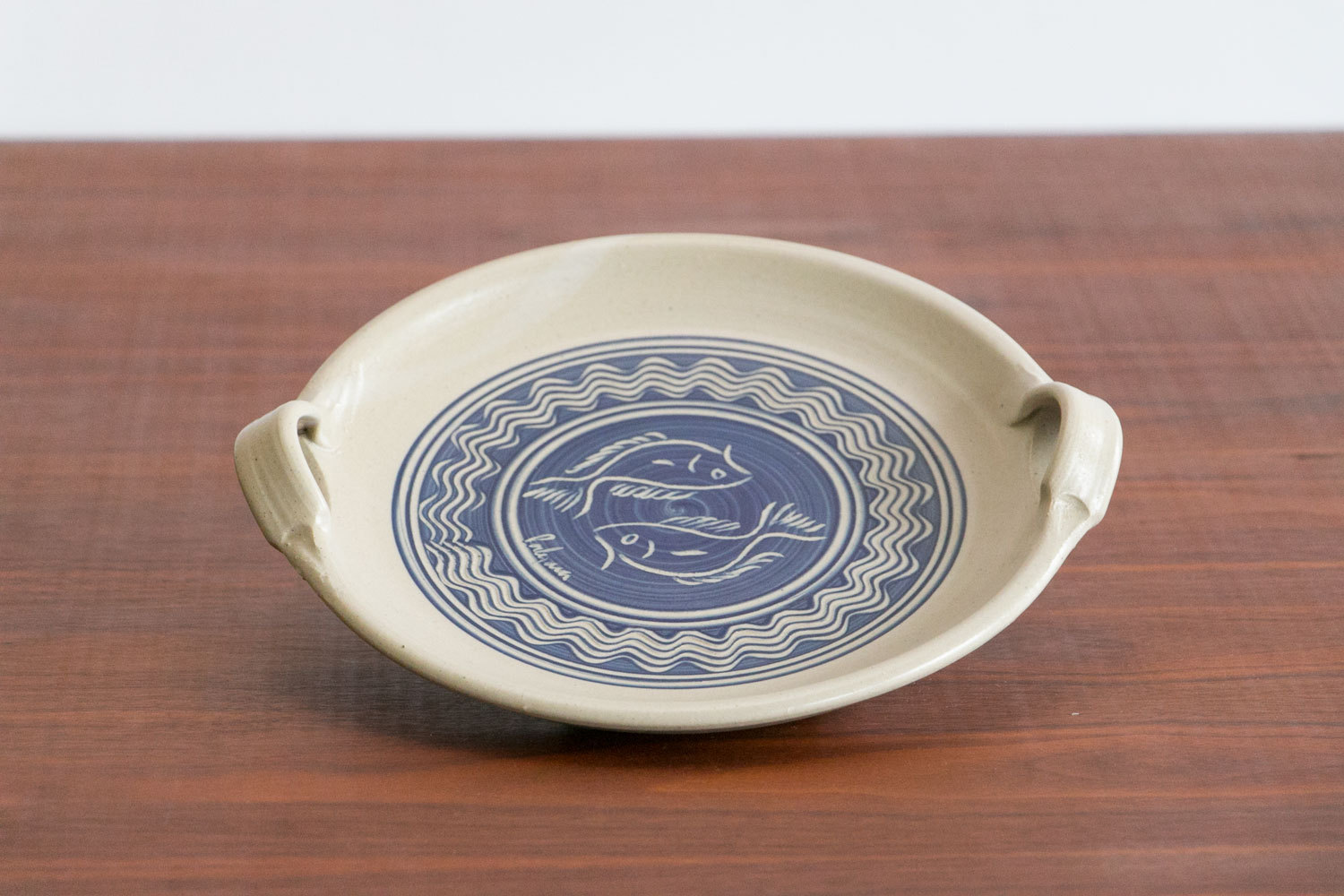"Vintage Mid Century Stoneware Serving Platter w Fish Motif //  10.5"" // Sculpted Handles // Studio Pottery // Handmade"