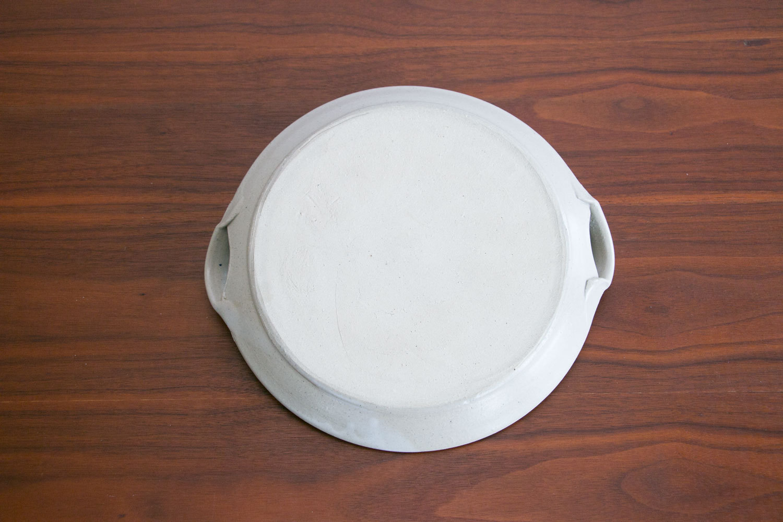 "Vintage Mid Century Stoneware Serving Platter w Fish Motif //  10.5"" // Sculpted Handles // Studio Pottery // Handmade"
