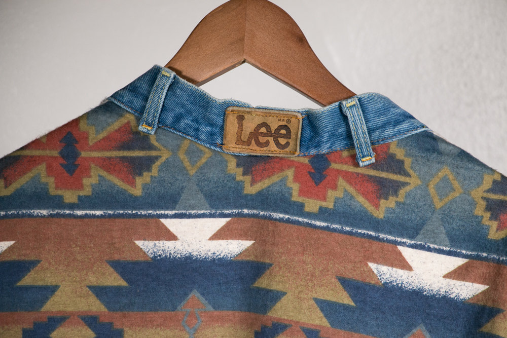 Vintage One of a kind original Denim Sweater made from Wrangler and Lee jeans and Aztec flannel.