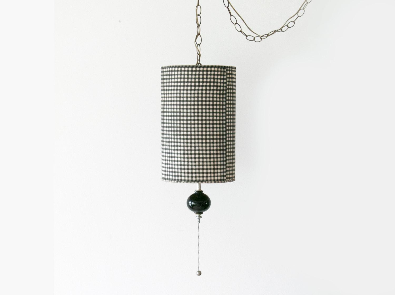 1950's Mid Century Black Enamel Hanging Pendant Light Lamp with Black & White Plaid Houndstooth Shade // Retro, 1950's, Beatnick