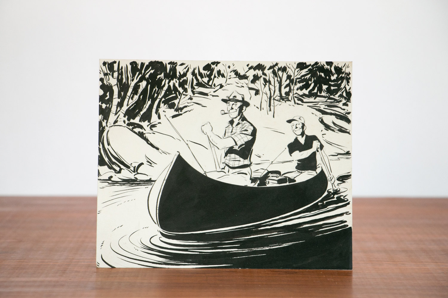 1950's Pen & Ink Hand Illustration of Happy American Men Rowing a Canoe w/ Camping Gear and Pipe // Advertising, Drawing, Mad Men, Americana