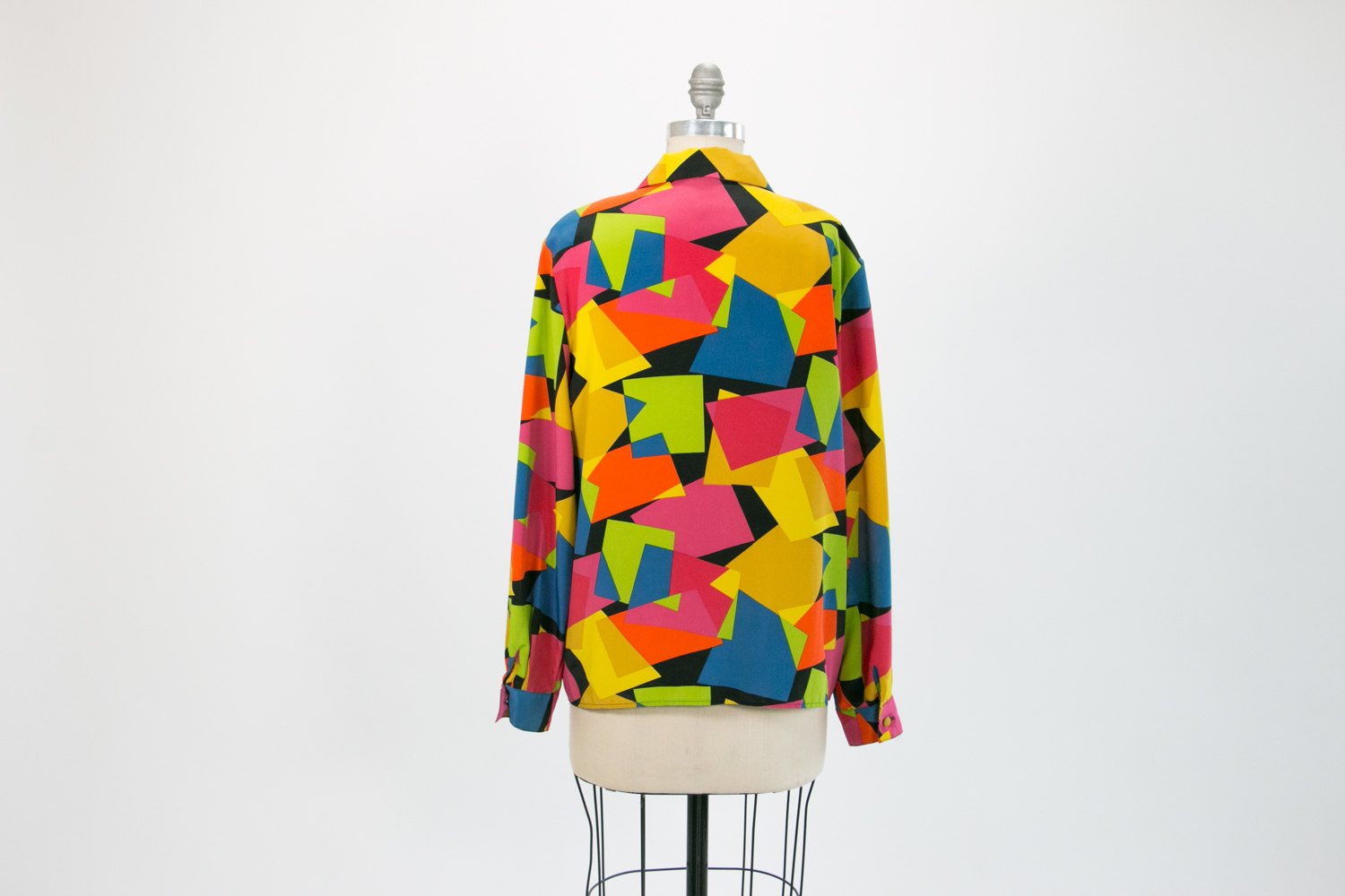 1980's Neon Geometric Les Camilles French Silk Blouse // Size 12 // Retro, Hipster, Cubist, New Wave, Avant Garde