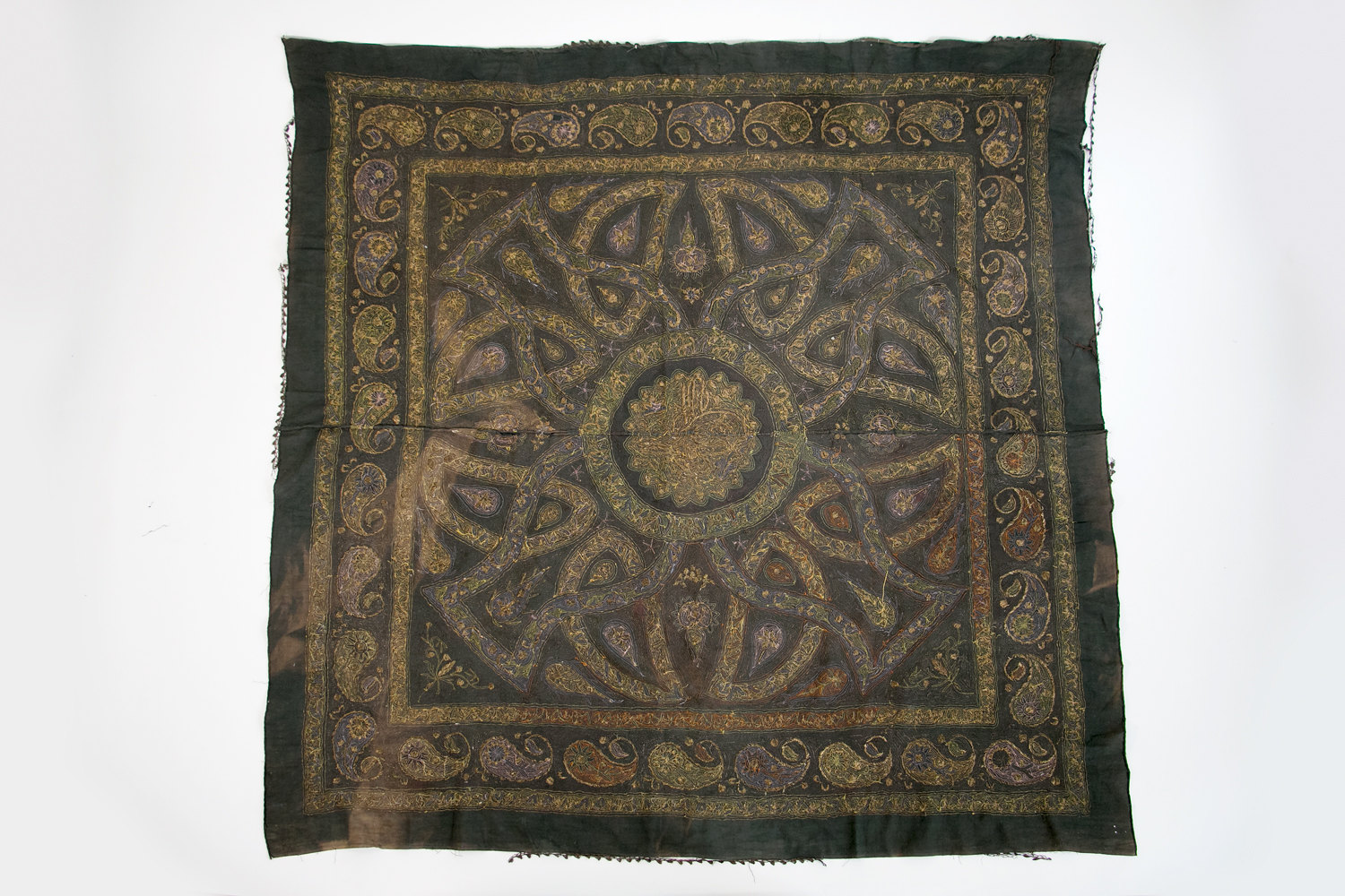 Antique 1920's Turkish Ottoman Paisley Linen Tablecloth w Real Brass Metal Embroidery - Rare // Gypsy, Hipster, Historical