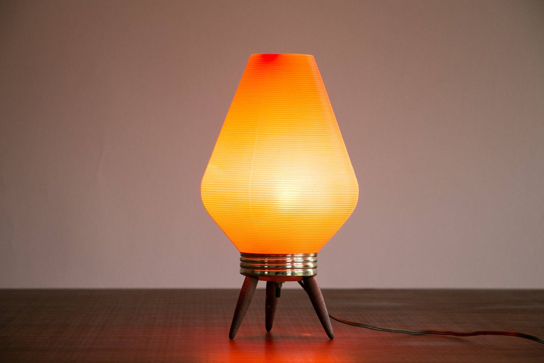 "Mid Century Modern 14"" Rotaflex Orange Beehive Table Lamp // Wooden Legs, Nice Glow // Vintage, 1960's, MCM, Retro, Mod, Asian Modern"