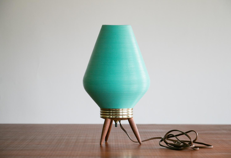 "Mid Century Modern 14"" Rotaflex Turquoise Beehive Table Lamp // Wooden Legs, Nice Glow // Vintage, 1960's, MCM, Retro, Mod, Asian Modern"