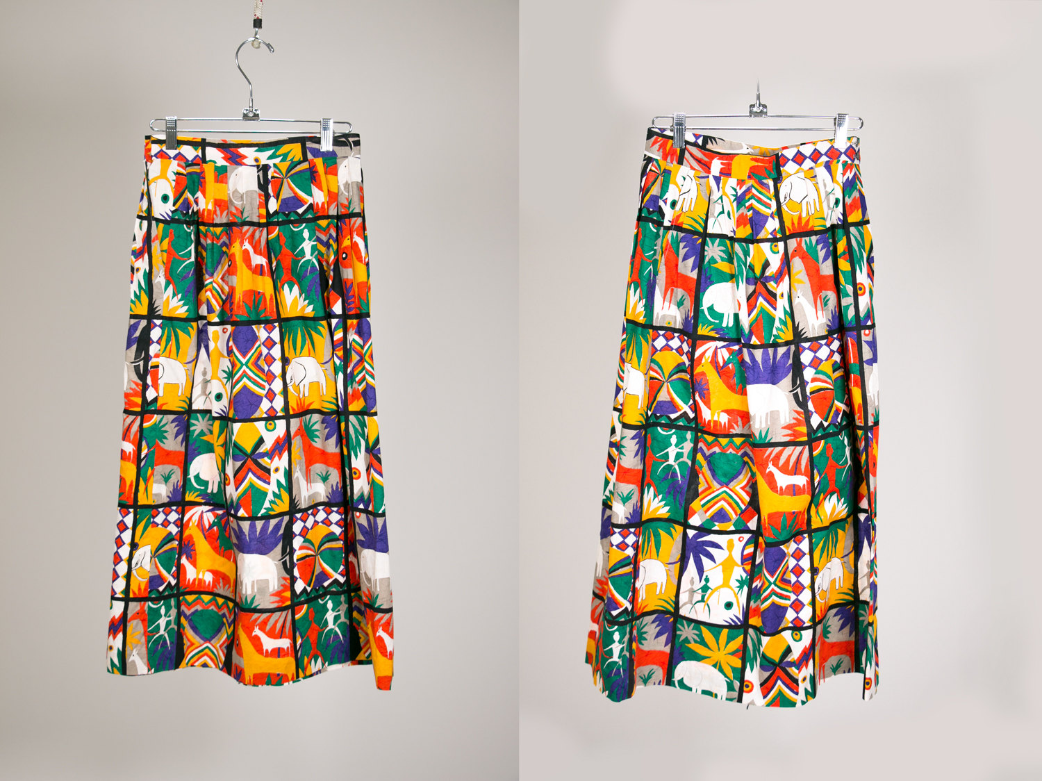 Playful Vintage African Print Skirt, Size 6, Made in USA by ASHER
