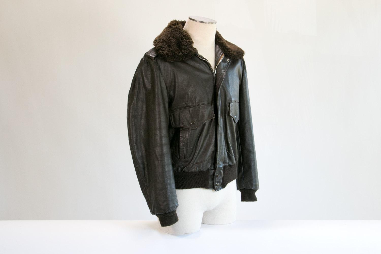 Rare Vintage 1960's Excelled Fur Lined Brown Leather G1 Flight Bomber Jacket // 42R Large // Mod, Cafe Racer, Hipster, Retro