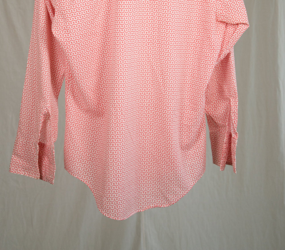 Rare Vintage 1960's Tarval Women's Blouse in Red & White Geometric Pattern, Pointed Collar - M Medium - Retro, Mid Century, Mod, Hipster
