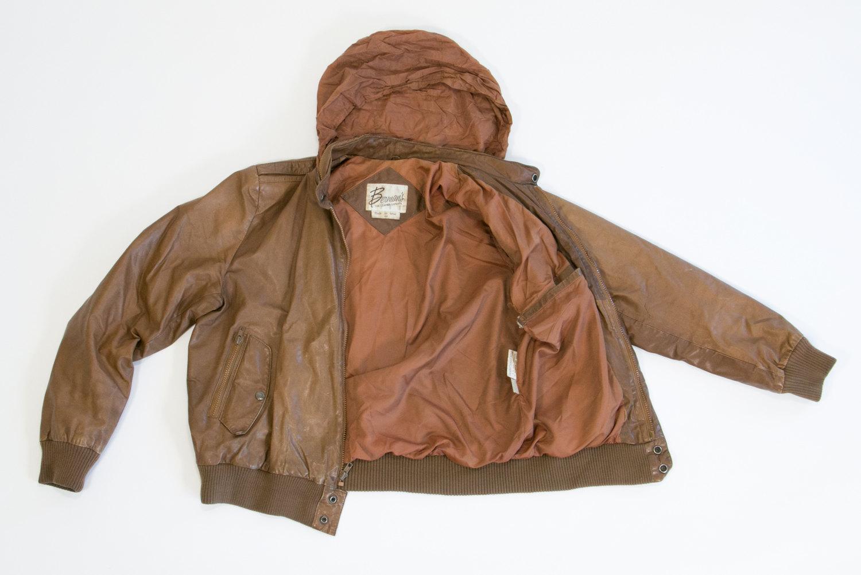 Rare Vintage 1970's Brown Leather Berman Cafe Racer Jacket w Convertible Hood // Size 44, L-XL // Biker, Hipster, Rocker, Euro