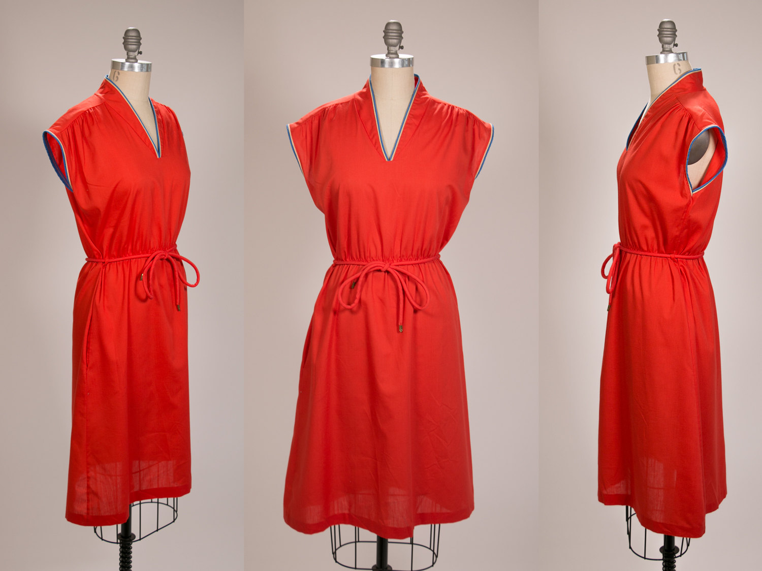 Rare Vintage 1970's Women's Short Sleeve Sleeveless Dress, Anne Leslie, Mod Dress - Size Women's Medium - Red, Blue, Cream - Retro, Hipster