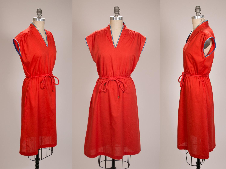 Rare Vintage 1970's Women's Short Sleeve Sleeveless Dress, Anne Leslie, Mod Dress - Size Women's Medium - Red, Blue, Cream - Retro, Hipster