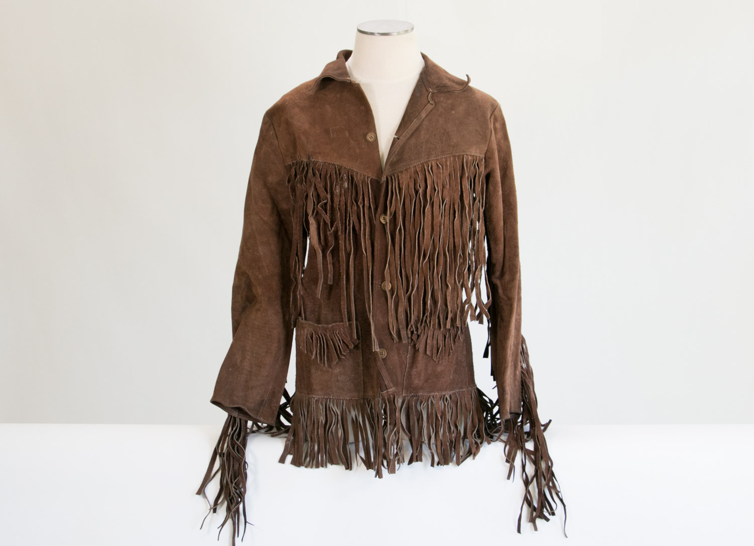 Rare Vintage Brown Suede Leather Fringe Frontier Jacket / Native American // Men's L - XL // Beautiful Thick Leather! Motorcycle, Rock