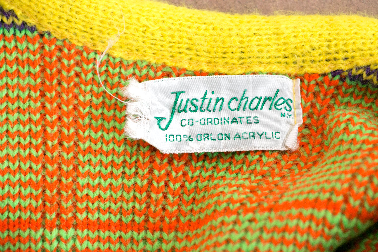 Rare Vintage Neon 1960's - 1970's Knit Tank Top / Vest, Justin Charles // Neon Rainbow Colors! //Indie // Hipster // High Fashion // Gay