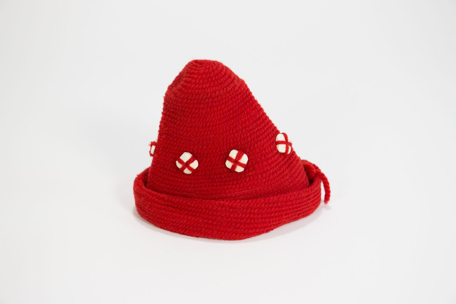Unique 1950's - 1960's Handmade Red Wool Knit Beatnick / Hippie Beanie / Cap / German / Elf - like, with Slanted Top // Eccentric // Hipster