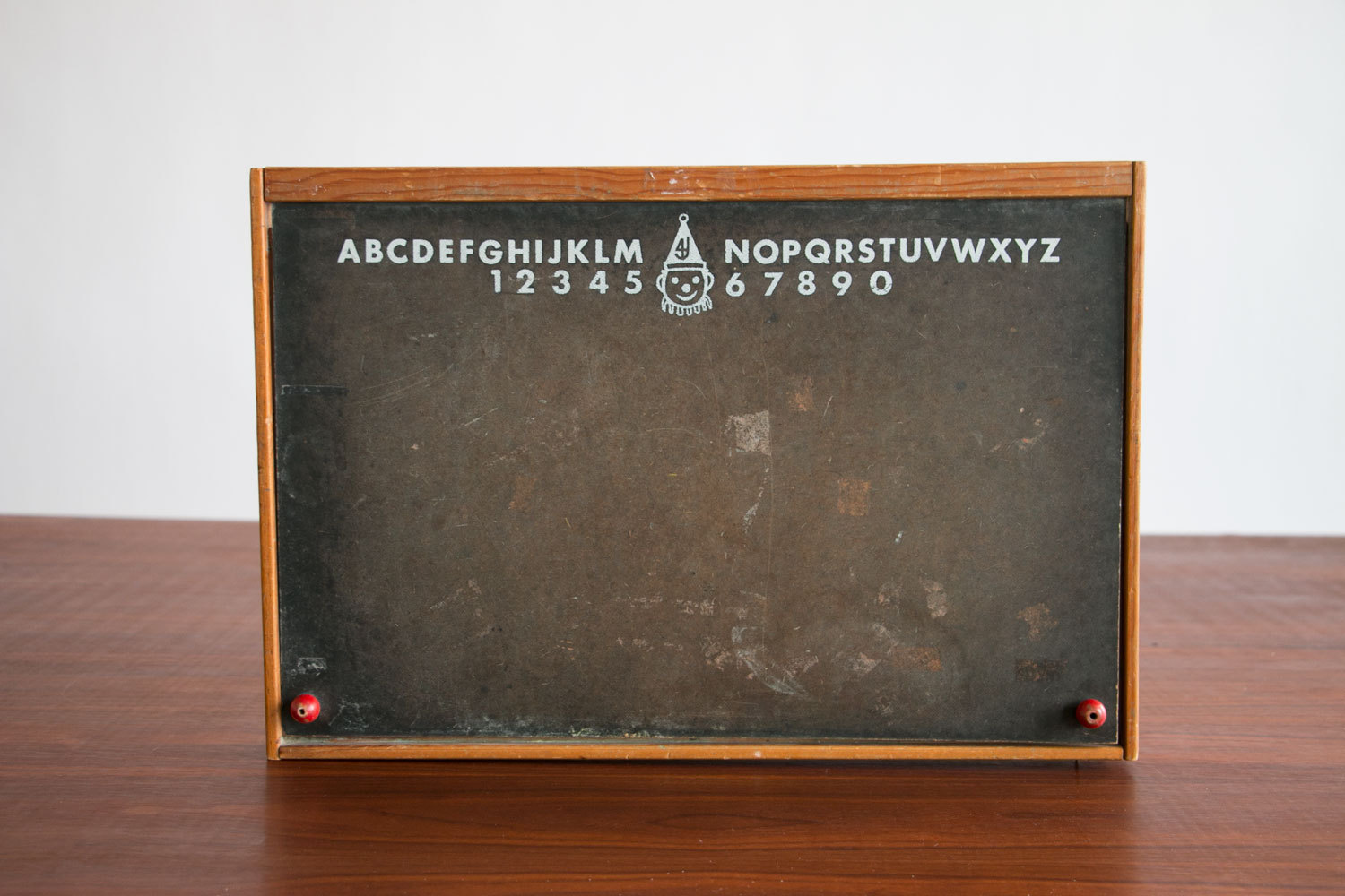 Vintage 1950's Children's Chalkboard Box w/ Alphabet & Clown Logo - Great Decorative Piece, Spice Rack, Shadow Box, Etc.