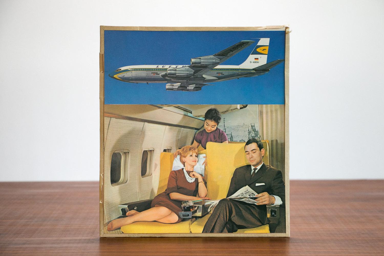 Vintage 1950's Lufthansa Airplane Advertising Collage from Estate of Mid Century Chicago Illustrator //  Retro, Americana, Art, Historical