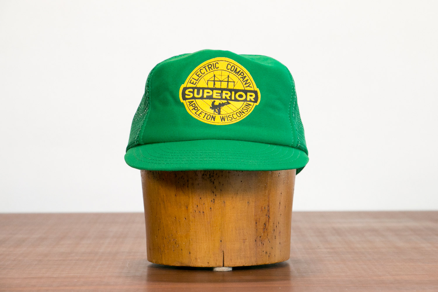 Vintage 1950's Superior Electric Company Factory Hat / Trucker Cap // Green & Yellow, Appleton, Wisconsin // Retro, Hipster, Rocker, Indie