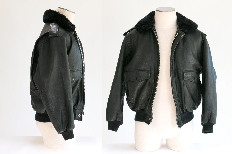 Vintage 1960's Fur Collared Leather Bomber Jacket w Zippered Fur Lining Layer // Black // Hipster, Rocker, Biker, Motorcycle, Cafe Racer