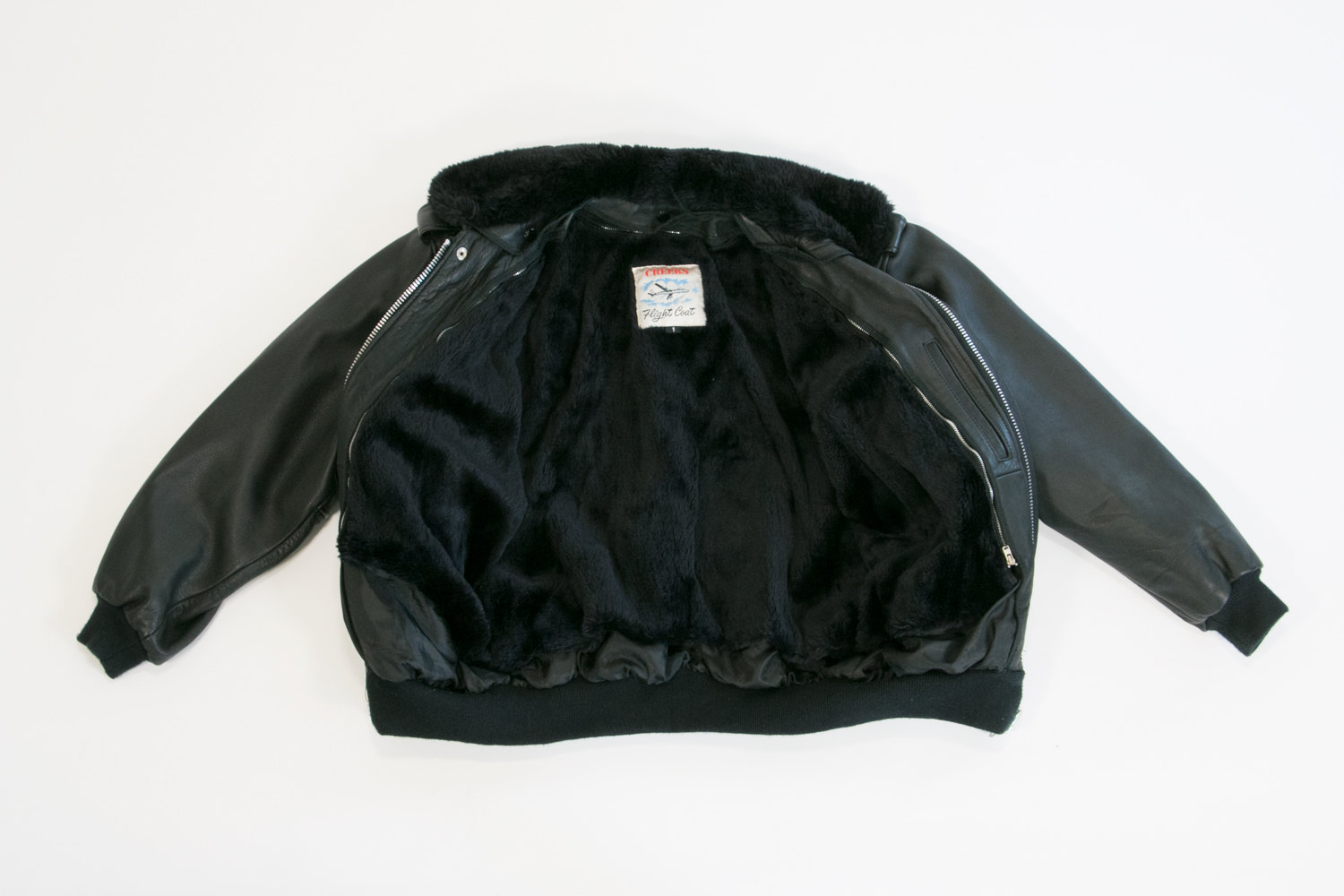 Vintage 1960's Fur Collared Leather Bomber Jacket w Zippered Fur Lining Layer // Black // Hipster, Rocker, Biker, Motorcycle, Cafe Racer